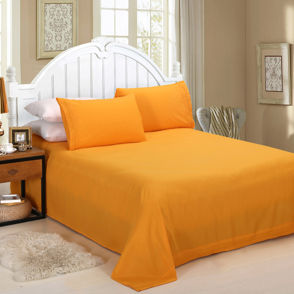 Набор постельных принадлежностей из 4 предметов с вышивкой, простыня, наволочки, постельное белье, домашний текстиль, Декор