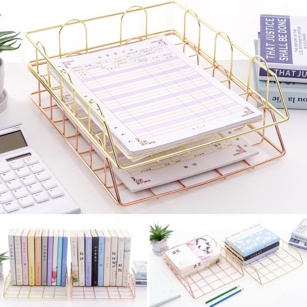 Iron File Holder A4 Paper Clip File Basket Grid File File Office Storage Filing Organizer Desk Accessories Tray Shelf Holde L2G8