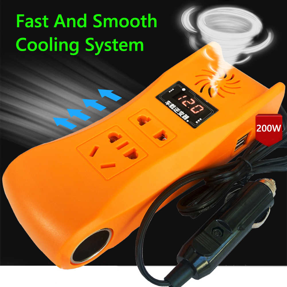200 واط عاكس الطاقة شاشة ديجيتال براعة ممتازة متانة جيدة تيار مستمر 12 فولت 24 فولت إلى التيار المتناوب 220 فولت MSW سيارة شاحنة العاكس