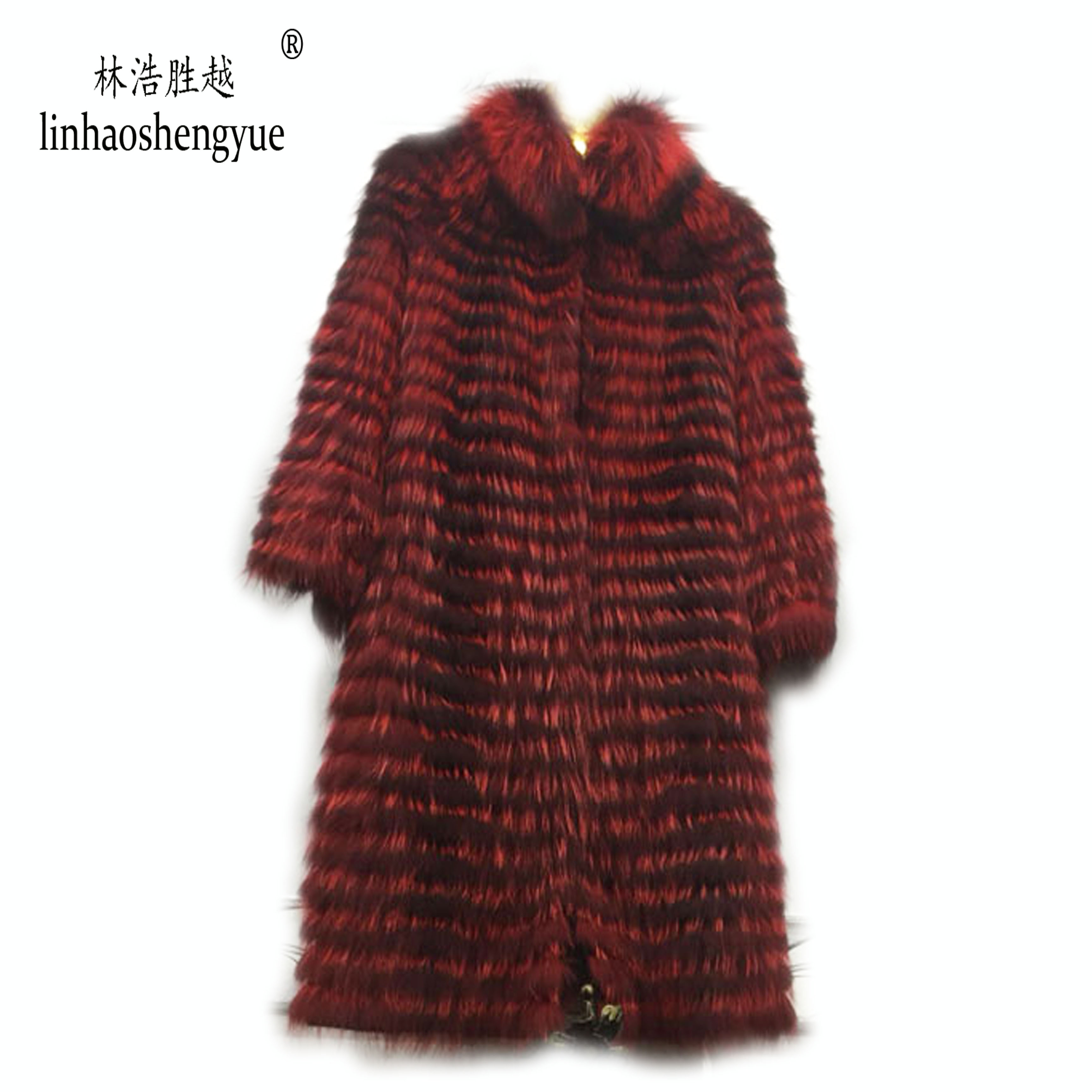 Image 3 - Linhaoshengyue  90cm long real Silver fox red  fox nature fur coat   Wool  knit liner,stylish stand collarReal Fur   -