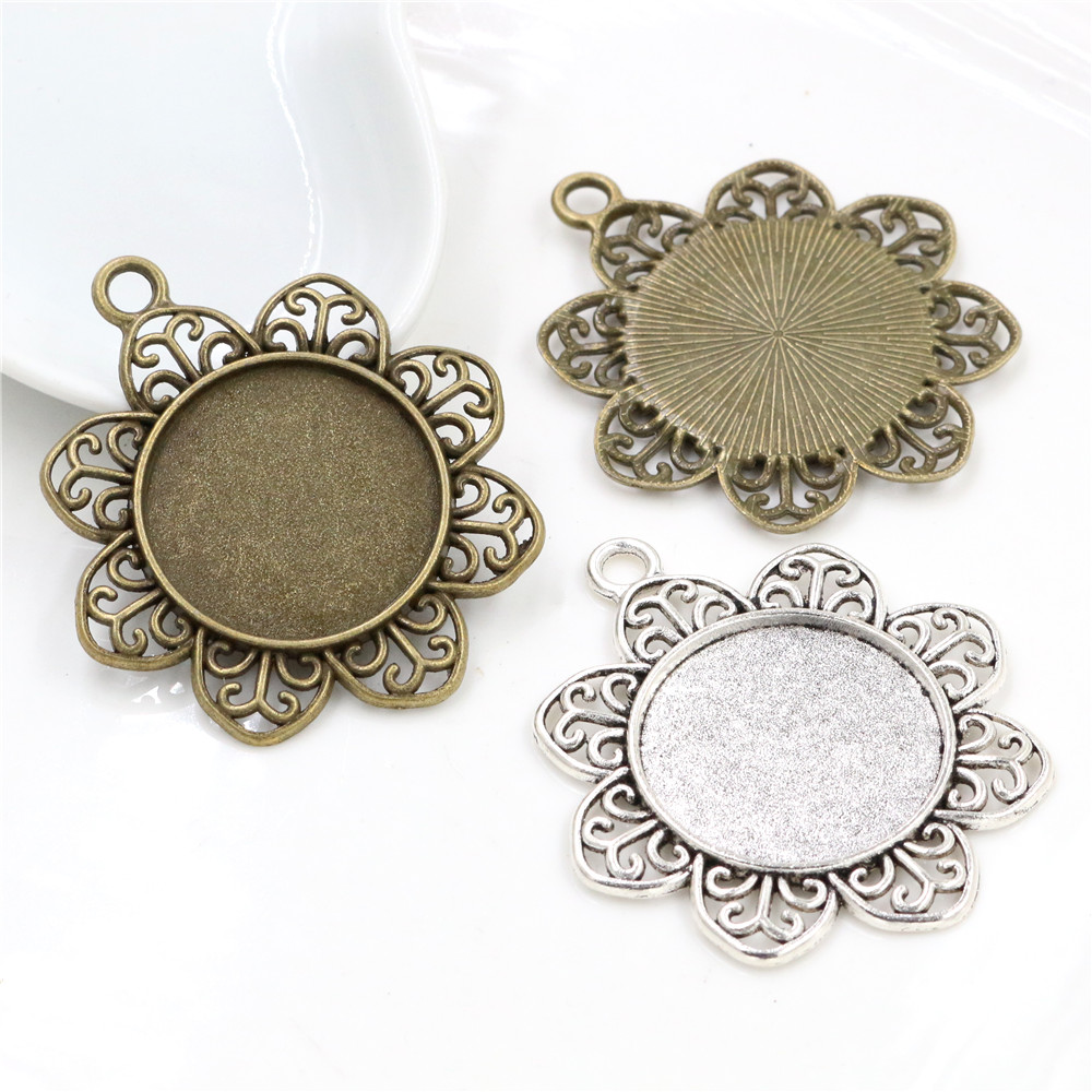 New Fashion  3pcs 25mm Inner Size Antique Silver Plated And Bronze Petals Style Cabochon Base Setting Charms Pendant