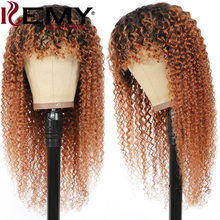 Wig Bangs Human-Hair Brown Kinky Curly Black Women Brazilian with Ombre 99J Burg