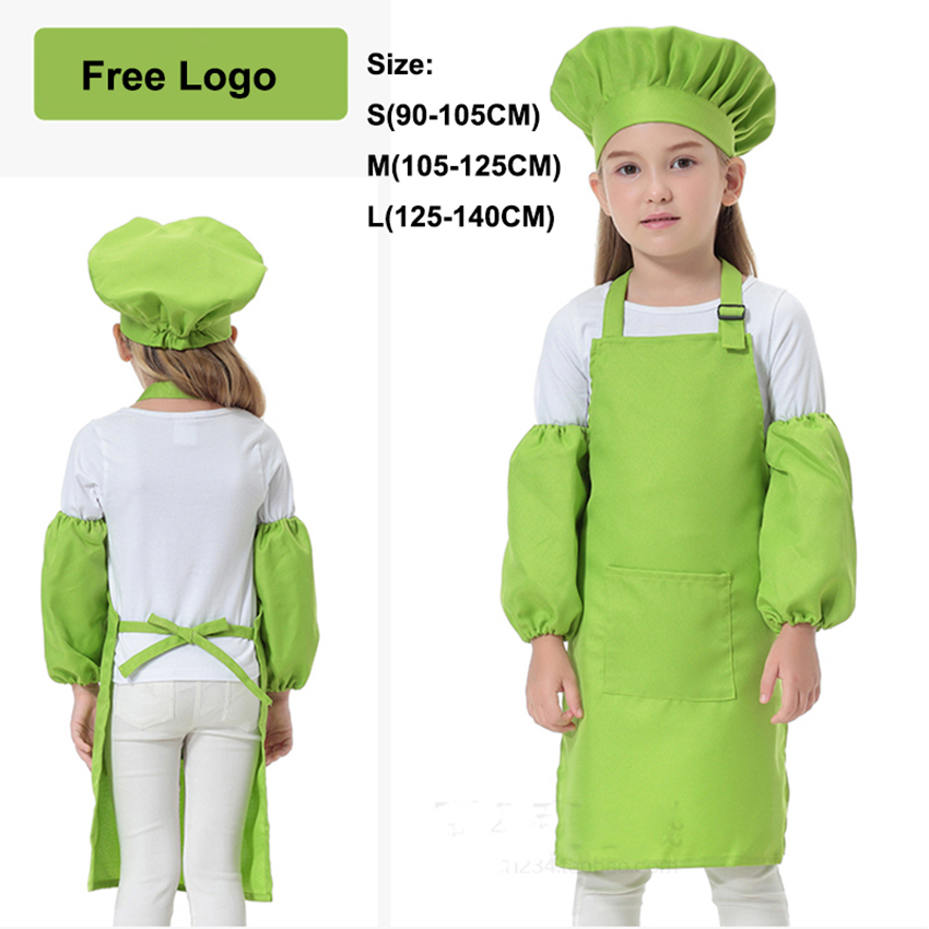 12Colors Free Logo Fancy Chef Uniform Cosplay Cook Halloween Costumes For Kids DIY Apron Baby Girl Boy Kindergarten Clothing