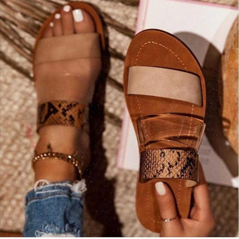 2020 terlik kadınlar seksi yılan desen slaytlar şeffaf geniş kayış leopar kadın plaj ayakkabı kadın Flats ayakkabı boyutu 43