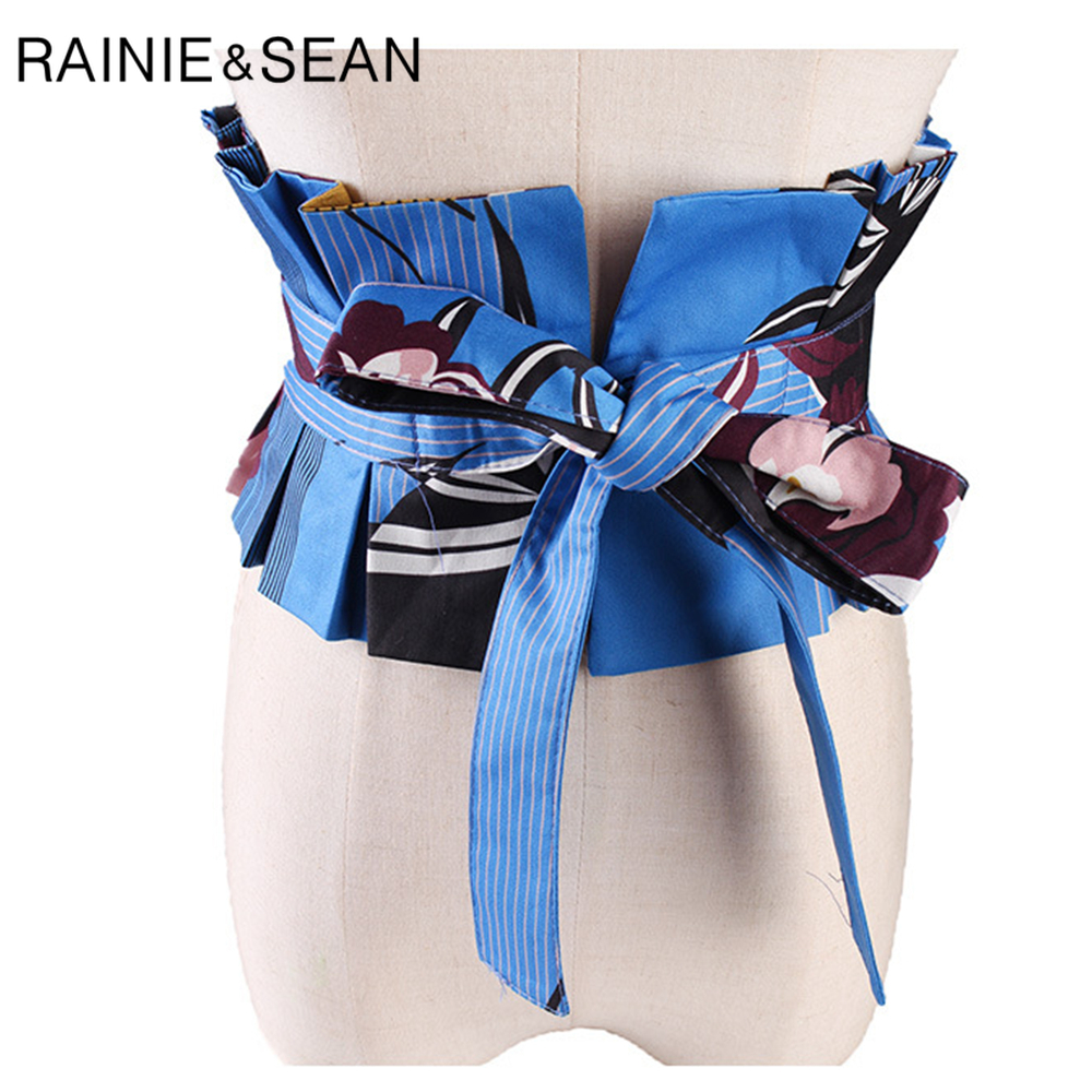 RAINIE SEAN Corset Belt For Women Print Extra Wide Women's High Waist Belt Blue Green Ladies Lace-up Japanese Kimono Cummerbund