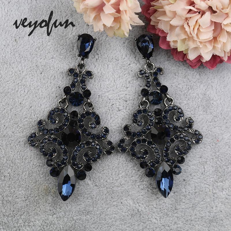 Veyofun Vintage Rhinestone Drop Earrings 2 Color Party Hollow Dangle Earrings Fashion Jewelry For Women Gift New
