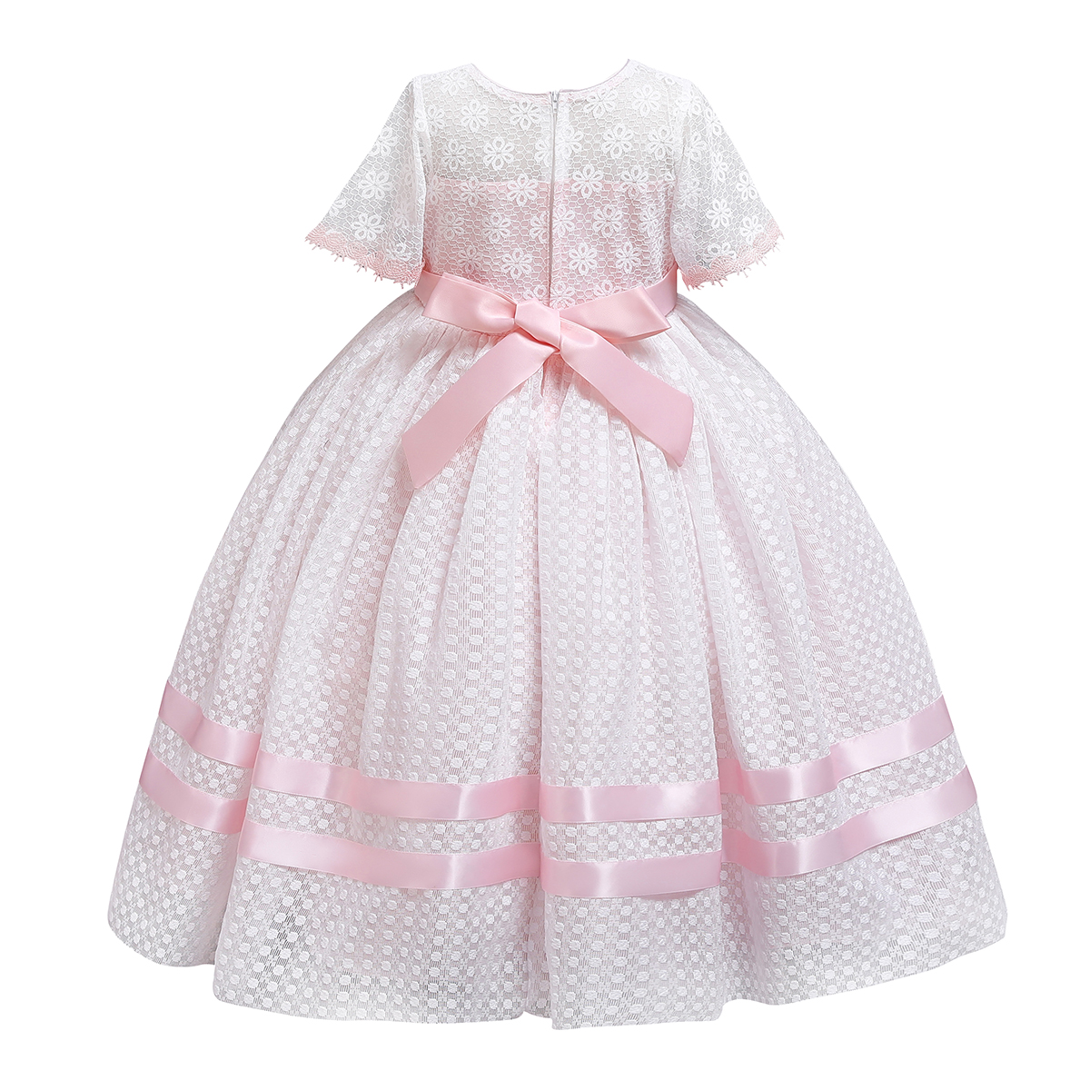 Ball Gown Dress Girls Kids Short Sleeve Pleated Long Dress 3D Flowers Bowknot Princess Party Dress Wedding Birthday Clothes in Dresses from Mother Kids