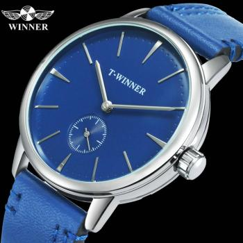 WINNER Official Fashion Minimalist Blue Mechanical Watch Men Leather Strap Casual Ultra Thin Mens Watches Top Brand Luxury Clock light blue cold shoulder thin strap top