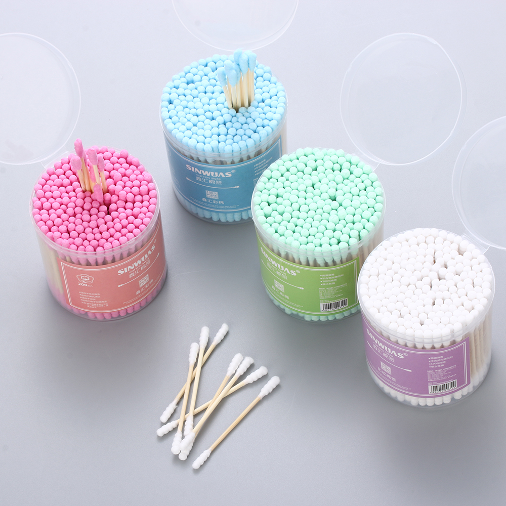100/200Pcs 4Colors Bamboo Cotton Swab Wood Sticks Soft Cotton Buds Cleaning Of Ears Tampons Microbrush Cotonete Beauty Care Tool