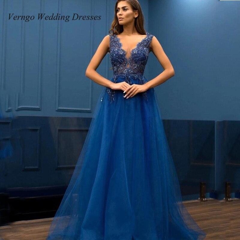 Verngo 2020 Dubai Arabic Women Long Formal Prom Dress Navy Blue Sexy V Neck Applique Tulle Long Dress Lady Evening Wear Vestido