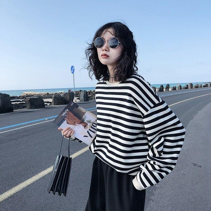 Sweat à capuche en coton à rayures gothiques pour femme, vêtement à manches longues, ample, Kawaii, coréen, fin, Harajuku, automne 2021 4