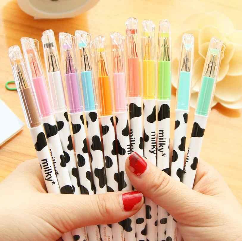 Ellen brook caneta gel colorida, 1 peça, marcador de texto colorido, papelaria, diamante, escola, materiais de escritório, presentes leite e leite