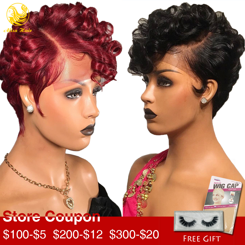 Alisa Hair Bouncy Curly Color #1 And #99J Short Pixie Cut Wig 13*4 Lace Front Wigs For Women Virgin Brazilian Human Hair Wigs