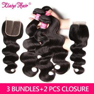 KLAIYI Hair Closure Brazilian with Weave 3-Bundles Hair-Extension Body-Wave 100%Human-Hair