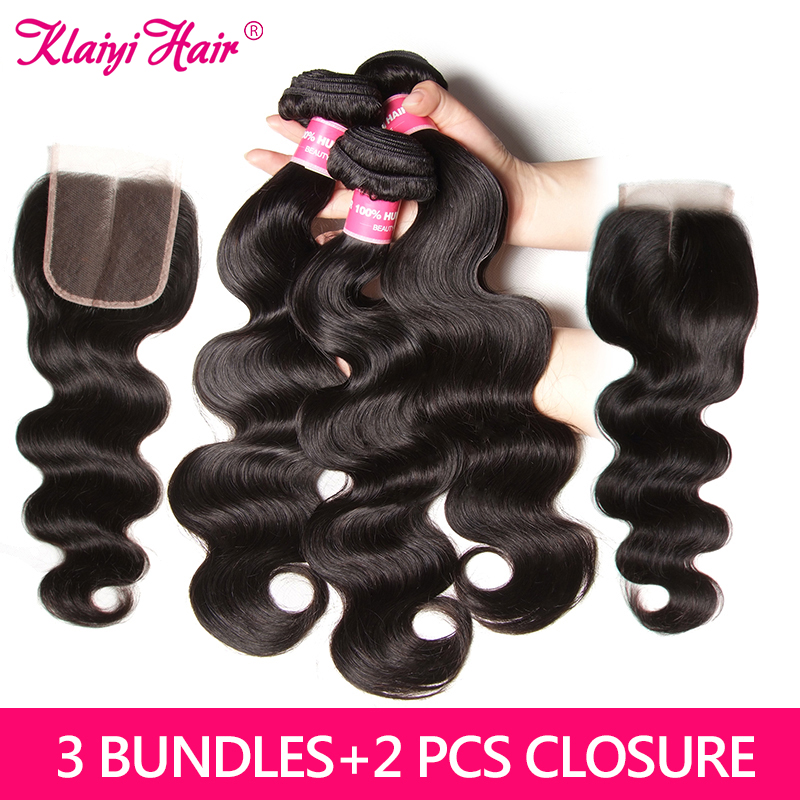 KLAIYI Hair Brazilian Body Wave With Closure Remy Hair Weave 3 Bundles With 2 Closure 100% Human Hair 4*4 Hair Extension