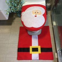 2 pcs/set Santa Claus Snowman Toilet Cover Christmas Toilet Cover Set Home Decoration  Year Christmas Decorations Home Decor