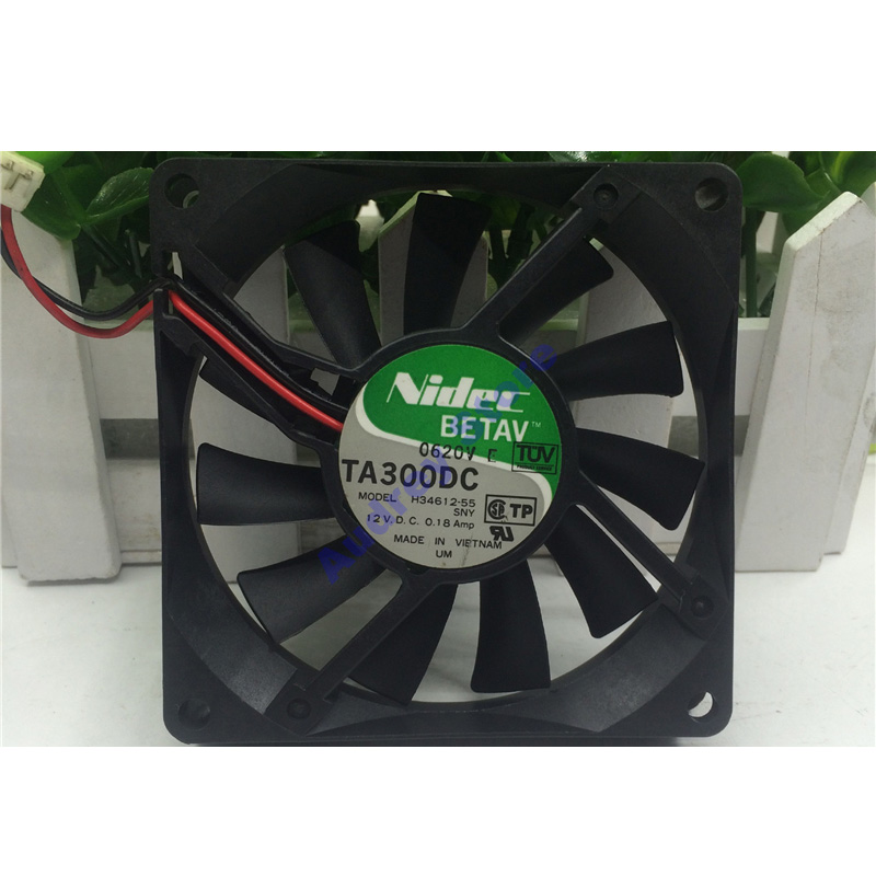 Original Japan Nidec TA300DC H34612-55 8015 12V 0.18A 8CM Cooling Fan 3000RPM 28.43CFM 20Pa Air Blower