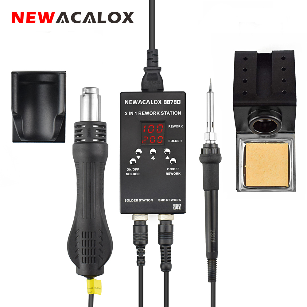 NEWACALOX 2 In 1 Soldering Station 700W Portable Digital Rework Station Hot Air Gun Soldering Iron for Phone PCB IC Welding