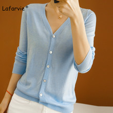 Lafarvie Wool Blended V-neck Knitted Cardigan Sweater Women Tops Autumn Single Breasted Thin Full Sweter High Quality 5 Colors