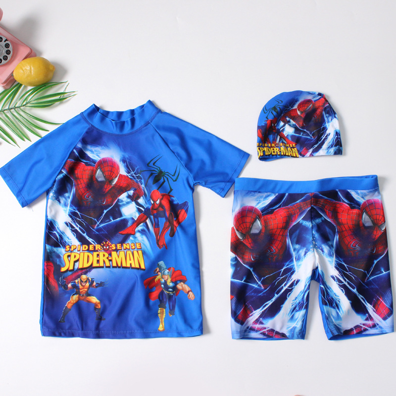 2019 Europe And America New Style Split Type BOY'S Swimsuit Send Swimming Cap Short Sleeve Shorts Spider-Man Ultra-stretch Quick