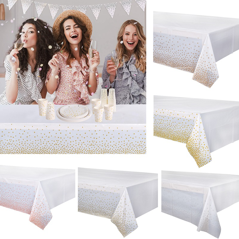 FENGRISE 130x270cm White Rose Gold Dot Bronzing Disposable Tablecloth Baby Shower Weeding Birthday Party Plastic Table Cloth