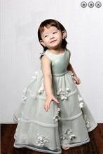 вечерние платья бесплатная доставка органза стиль 2016new девочек прекрасная принцесса платье свадьбы девушки Pageant платья девушки цветка платья