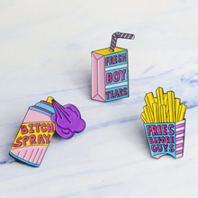 Fresh boy tears Fries before guys spray Enamel pin Pink purple Pin Brooches Shirt lapel Button badge Creative Gift for women