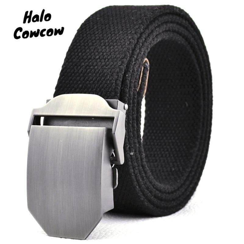 110 - 140 150 160cm Stripe Alloy Automatic Buckle Men's Belt High Quality Canvas Luxury Strap Male Belts Large Size Belt For Men
