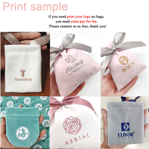 Image 5 - 50Pcs 7cmx9cm Jewelry Velvet Bags With Ribbon Flannel Pouches Wedding Candy Gift Packing Christmas Decoration Can Custom Logo