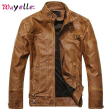 PU Leather Jacket Mens Motorcycle Fleece Warm Men Winter 2019 Solid Zipper Punk Style