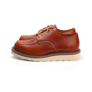 Luxury Brand Vintage Men Casual Shoes Handmade High Quality Ankle Boots Cow Leather Wings Tooling Motorcycle Red Autumn