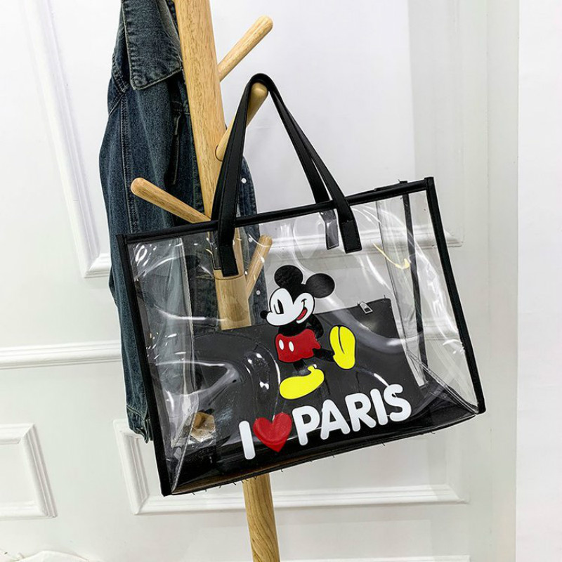 Disney's New Waterproof Diagonal Transparent Bag Portable Beach Bag Mickey Mouse Plastic Bag Girl Jelly Shoulder Bag 2pcs