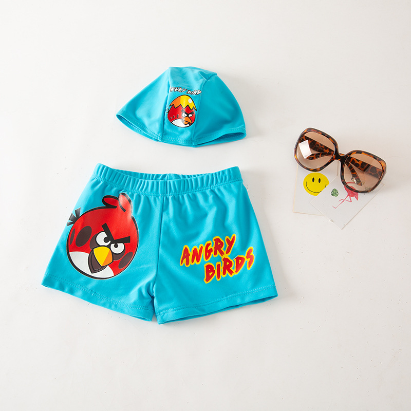 BOY'S Swimming Trunks Blue Bird With Hat-Beach Shorts Children Hot Springs Swimming Trunks