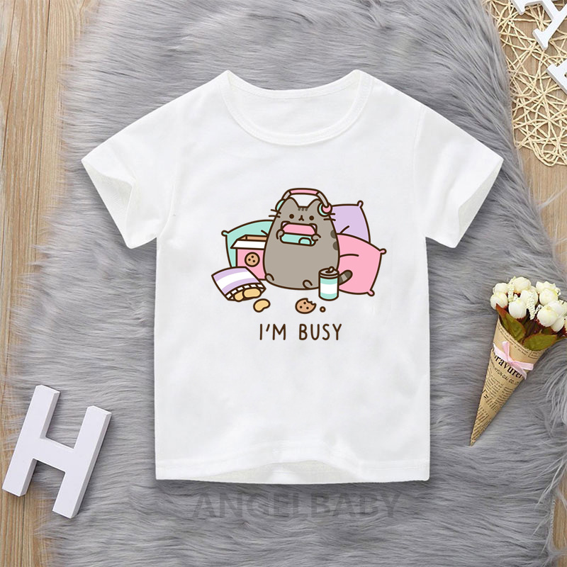 Kawaii Fat Cat Cartoon T shirt For Girls New Summer Cute Fashion Kids Tops Baby Boys Clothes Funny Children T-shirt 1