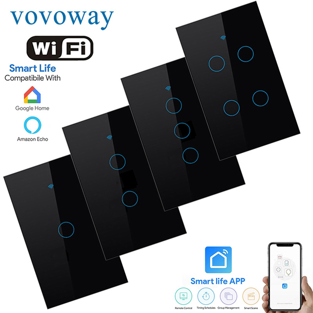 WIFI smart touch switch US standard light switch smart life APP remote control supports smart home alexa with Google Assistant