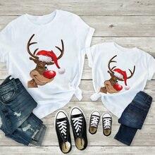 Рождественская футболка для мамы и дочки одинаковая семьи милый