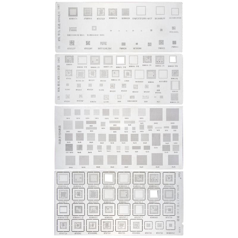 4PCS Universal BGA Stencil For MTK MSM Samsung Huawei Xiaomi IPad CPU RAM PM Power IC Reball Pin BGA Direct Heat Template