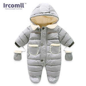 Image 4 - Ircomll Winter Infant Baby Girl Boy Romper Autumn Jumpsuit Hooded Inside Fleece Toddle Winter Autumn Overalls Children Outerwear