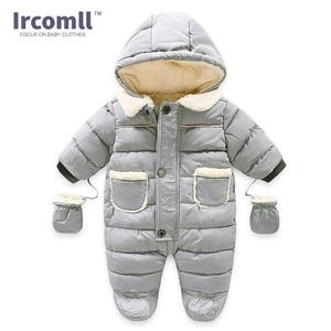 Image 4 - Ircomll Winter Infant Baby Girl Boy Romper Autumn Jumpsuit Hooded Inside Fleece Toddle Winter Autumn Overalls Children Outerwear