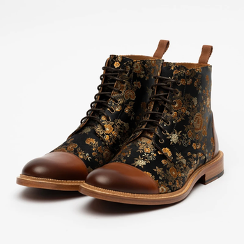 Fashion Men Shoes Top Quality Vintage PU Leather Plaid  Boots Lace Up Mens Boots Casual Zapatos De Hombre D76