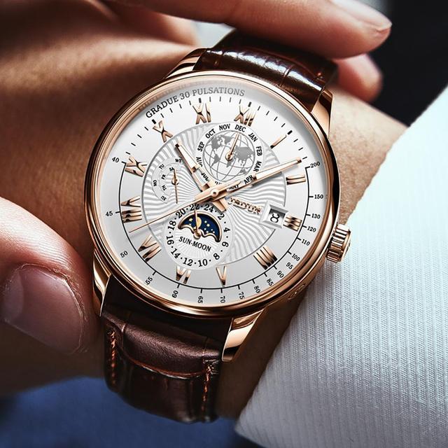 Men Mechanical Watch Top Brand Luxury Automatic Watch Leather Waterproof Sports Moon Phase Wristwatch relogio masculino 4