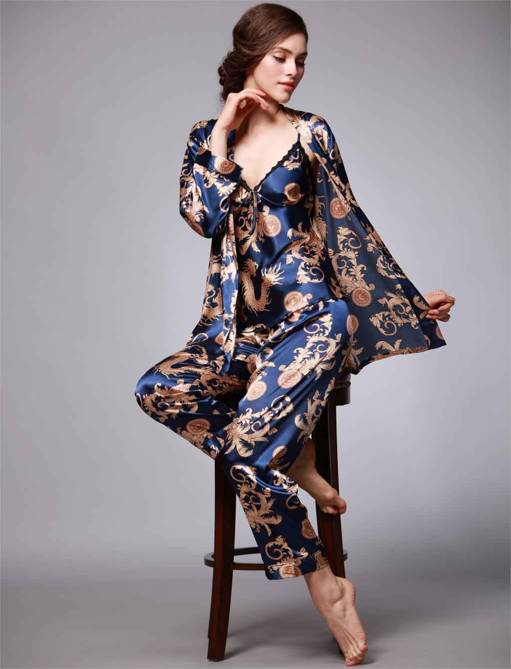 2020 Women Silk Pajamas Female 3 Pieces Satin Pajamas Sets Autumn Spring Sleepwear Summer Long Sleeve Homewear Printed Nightwear Women Women's Clothings cb5feb1b7314637725a2e7: PJ01 Black|PJ01 Blue|PJ01 Grey|PJ01 Red|PJ01 Silver|PJ02 Blue|PJ02 Red|PJ02 Silver|PJ04 Black|PJ04 Blue|PJ04 Red|PJ04 Sliver