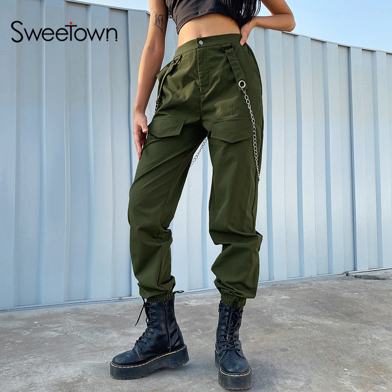 Sweetown Green Solid Punk Gothic Streetwear Pants With Metal Chain Straps Pockets Elastic High Waist Womens Jogger Sweatpants