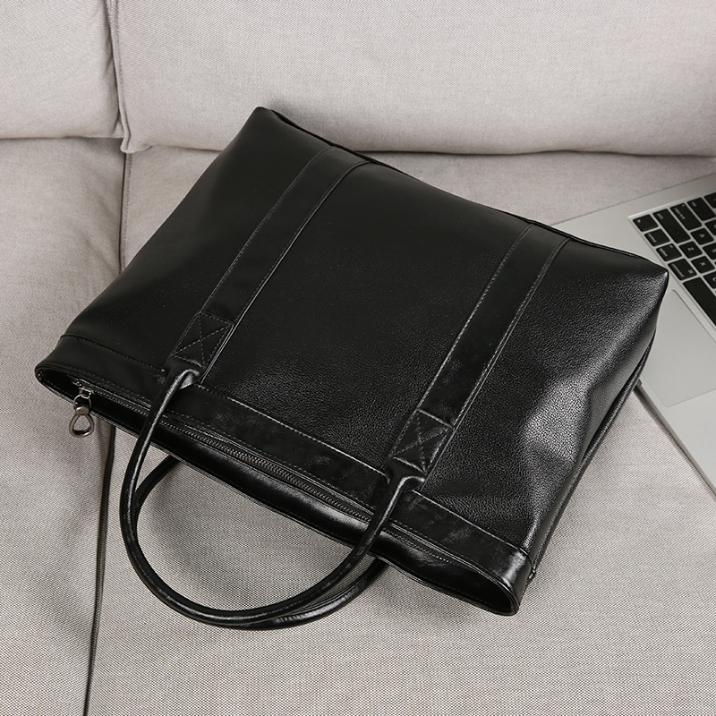 Men's Business Office Briefcase Brand PU Leather Handbag Solid Black Male Messenger Bag Large Casual Computer Laptop Tote 2019