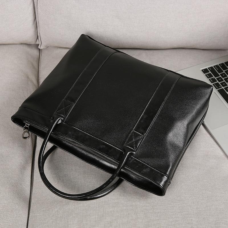 Men's Business Office Briefcase Brand PU Leather Handbag Solid Black Male Messenger Bag Large Casual Computer Laptop Tote 2019