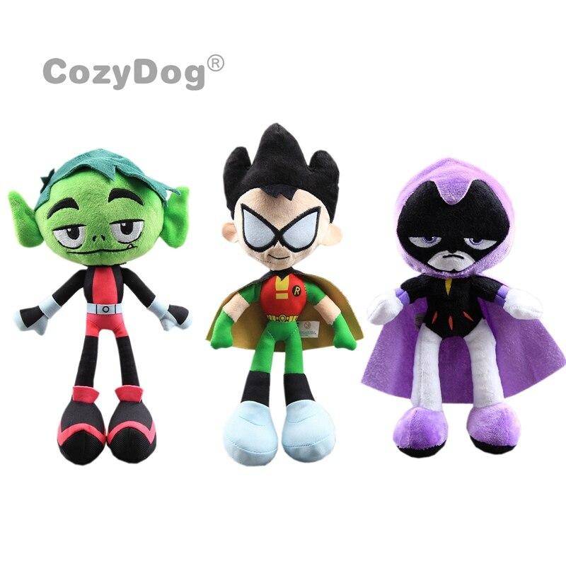Teen Titans Raven Robin Plush Toys Teenager Heros Beast Boy Stuffed Dolls 24-30 Cm Kids Gift