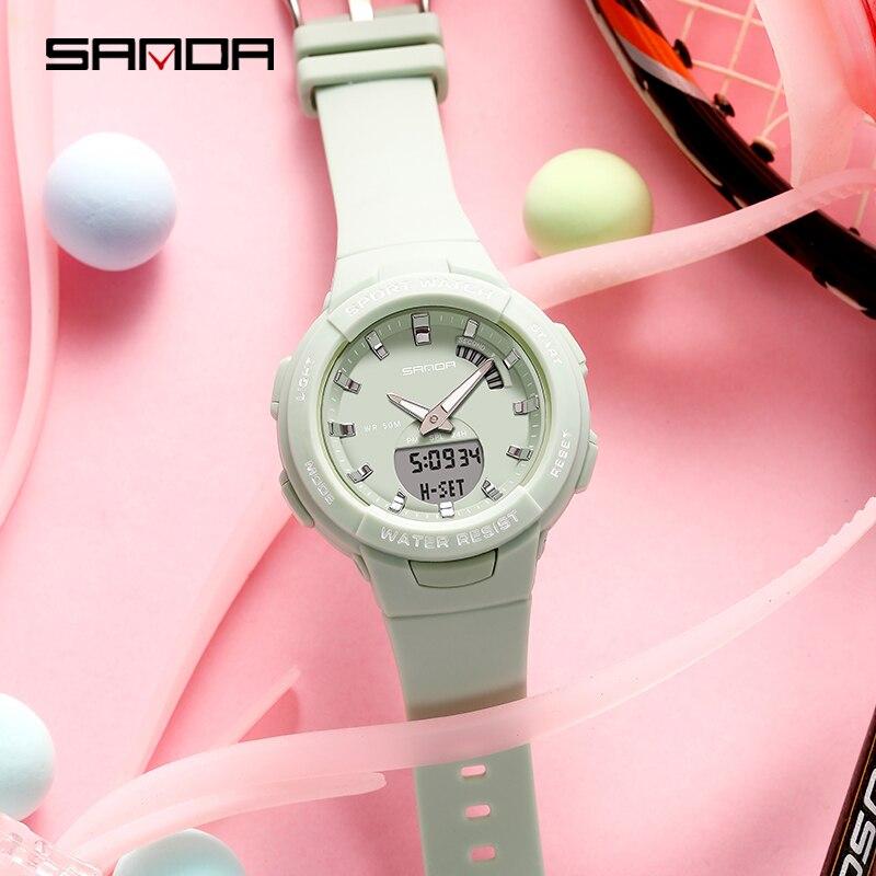 SANDA-montres pour hommes et femmes, montre de luxe, résistance, compte à rebours de Sport, étanche 50M, pour garçons et filles 5