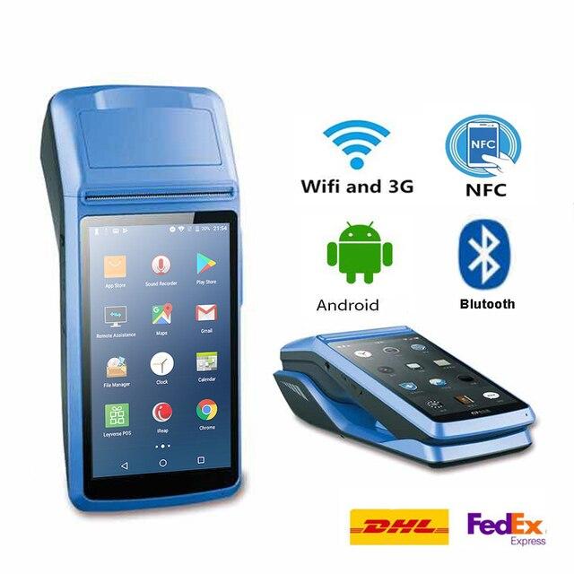 Android Pda Handheld Pos Terminal Met 2G 3G Wifi Bluetooth Nfc Ingebouwde Thermische Printer En Barcode reader Met Lader Dock