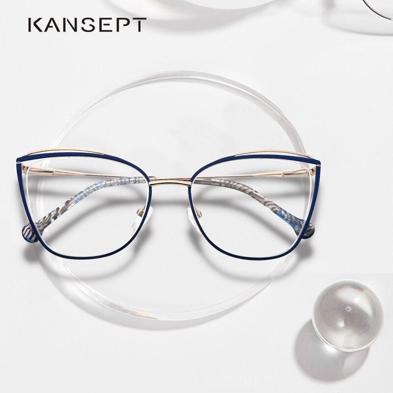 KANSEPT Metal Glasses Frame Women Cat Eye Myopia Computer Eyeglasses Frame 2020 Lady Stylish Eyewear High Quality MS3535