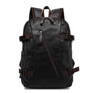 Image 2 - Nouveau vintage hommes sac à dos mode style PU cuir école étudiant sacs ordinateur sac voyage sacs à dos
